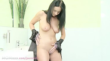 MOM HD Bored housewife shaves her hairy pussy