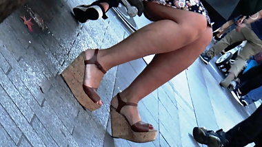 Candid hot milf with wedges high heels