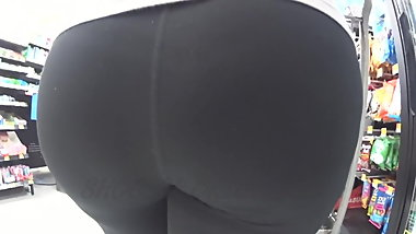 Round Latina MILF In Black Spandex Almost Groped