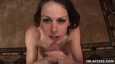 Big titted MILF Dianna Doll munches on a stiff dick