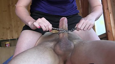 CFNM Pornstar Handjob With Chain. Sylvia Chrystal's Homemade Sex Tapes HD