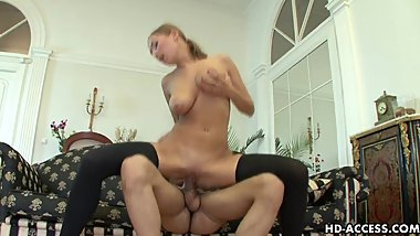 Gorgeous busty chick rides on her lover's big hard cock