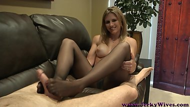 CC JW Mom's Pantyhose Footjob and Handjob