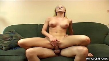 Blonde busty stunner has a huge cock up her cunt