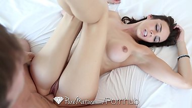HD PureMature - Brunette Tiffany Tyler sucks and swallows the dick