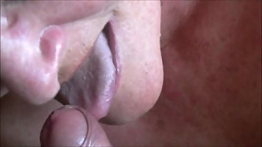 Wanking Into Granny's Mouth Closeup HD