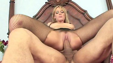 Cum craving blonde gets pounded by stud in all positions in bed