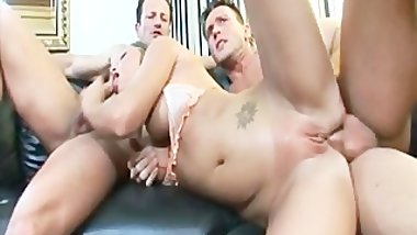 Sexy Vivian gets two hard cocks