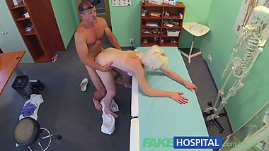 FakeHospital Sexy horny blonde milf wants doctors cum inside her