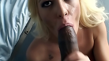 Blonde slut fucks black doctor
