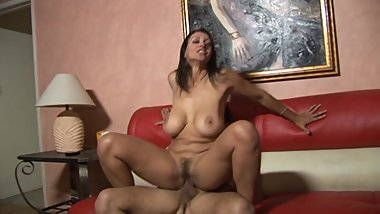 Slutry milf with big boobs sucks a dong then rides it till orgasm