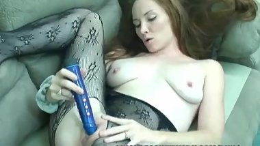 Horny MILF Navaya is fucking her sweet pussy with a toy