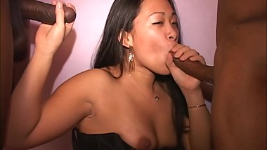 Asian MILF cutie fucked by 2BBCs Eats pussy Licks cum from cock Longest HD