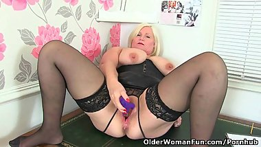 British granny Lacey Starr strips off at the office and masturbates