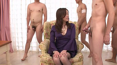Asian milf t gets all her face filled in a hot orgy while masturbation