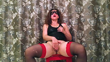 RedChair masturbation with stockings for HotwifeVenus.