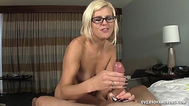 Naked milf jerks off her husband