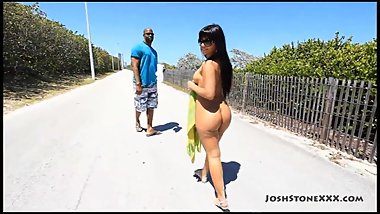 Big ass latina naked at beach gets fucked hard
