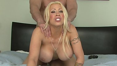 Huge boobs blonde is happy feeling stick in pussy doggystyle fucking