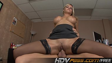 Blonde Milf Klarisa Leone in a Stocking Fuck a Big Dick Cum on Face