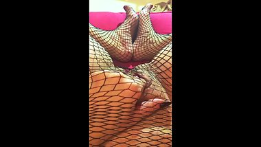 Fishnet Footjob and Pussy Play CLOSE UP