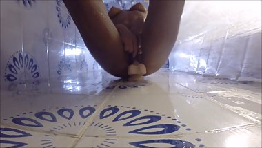 HOT WIFE SHOWERS WITH HER DILDO - UP SHOT GO PRO