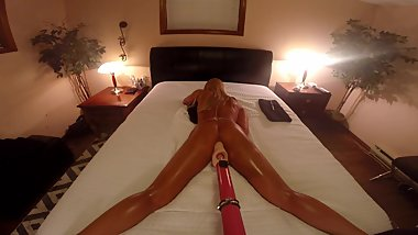 BLONDE TANNED AMATEUR FUCKS DILDO MACHINE WITH ANAL BEADS TO ORGASMS