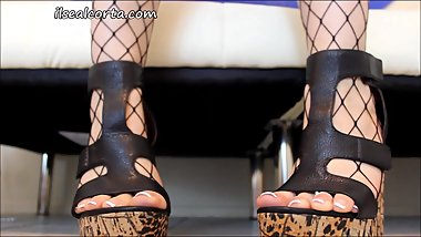 Fishnet Teen Toes in Wedges