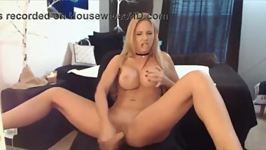Big tit blonde milf plays with her shaved pussy