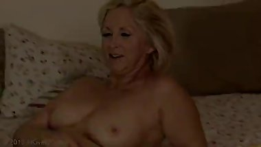 Blonde cougar Annabelle gets fucked hard by a young man