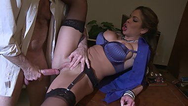Busty brunette gets a hard cock in the office