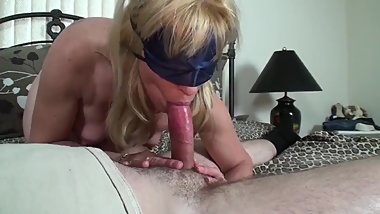 Blonde MILF Gives A Blindfolded Birthday Blow-Job To A Young Pornhub Member