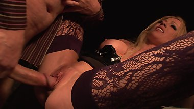 Hot slut gets pounded from behind while blonde licks her ass
