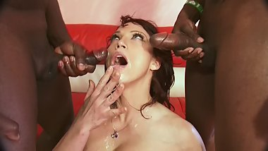 Big Ass MILF Gets Fucked + Anal & Drenched In Cum from Two Big Black Cocks