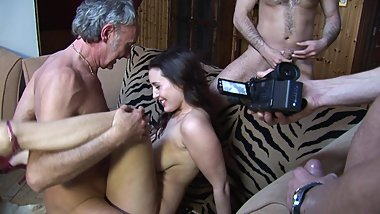 Brunette beauty with bouncy tits gets gang banged during and audition