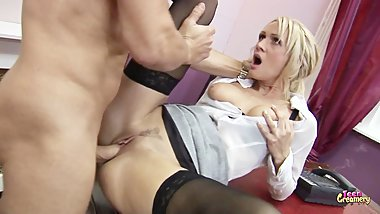 Hot Blonde Milf Fucked By Her Boss and Gets Facialed