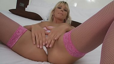 BLONDE BIG TIT MILF FINGERS AND STUFFS HER PUSSY WITH TOYS