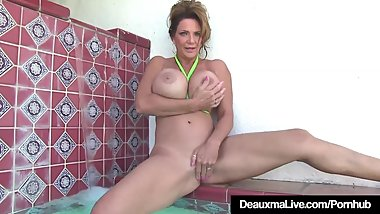 Busty Cougar Deauxma Rubs Her Huge Boobs & Pussy In A Pool!
