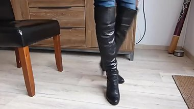 black leather overknee boots