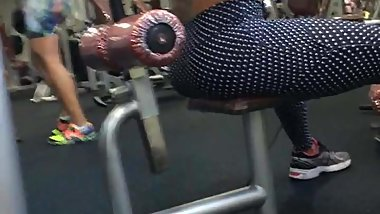 Spying on hot trainer milf in gym