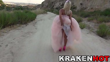 Cute Estefani Tarrago outdoor in a sexy princess dress