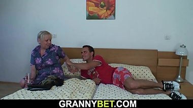 Injured granny is healed by young dick