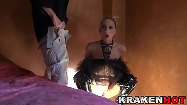 Mature blonde Daniela Evans in BDSM submission scene