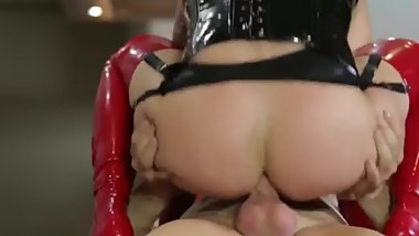 Blonde Slut Ass Fucked In Red And Black Latex Facial