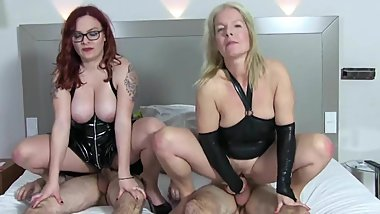 MILF and Younger Suck and Fuck Two Men In Black Latex