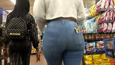 Phat MILF Ass in Tight Blue Jeans