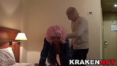 Submissive street bitch spanked in a BDSM scene