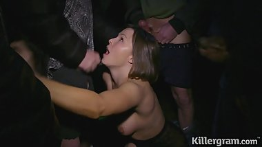 Dirty Milf dogging gets covered in cum