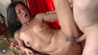 Skinny mature wife cheating with young boy