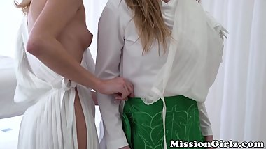 Pussy licking Mormon babes enjoy a sensual threesome